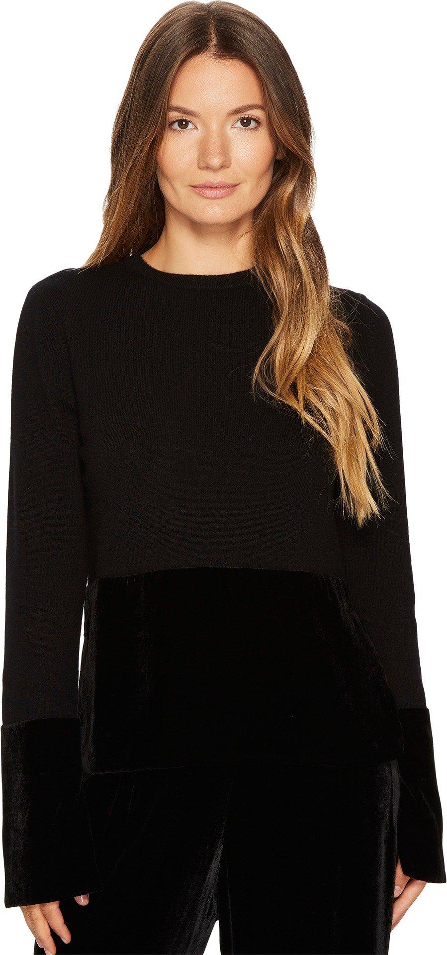 Cashmere In Love Women's Taylor Pullover with Velvet Panel Black/Black Velvet Medium