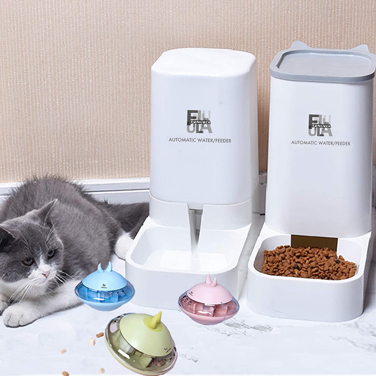Cat Food Feeder and Water Automatic Feeder Dispenser Pet Toys Dog Treats Interactive Food Dispenser,for Pets Slow Feeder Tumbler Puzzle Pets Teaser Stick IQ