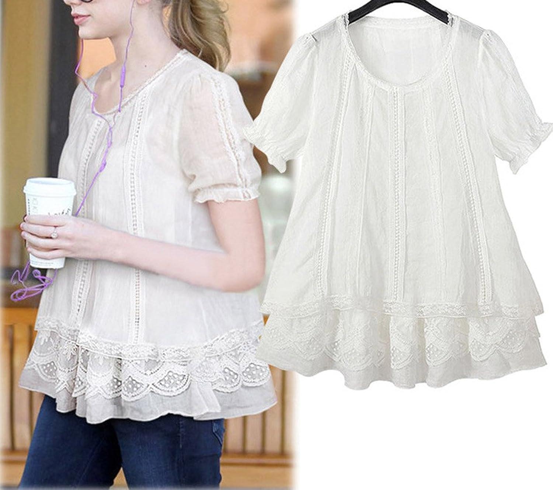 ADS Women's Fantasy Style Round Neck Elastic Sleeve Lace Blouse Shirt Asia Size