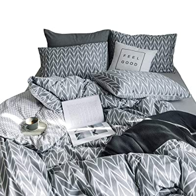 BuLuTu Duvet Cover Queen 100 Cotton Grey,Geometric Arrow Chevron Reversible Stripe Kids Duvet Cover Set Full Bedding Collections,Super Soft,Lightweight,Natural,No Comforter: Home & Kitchen