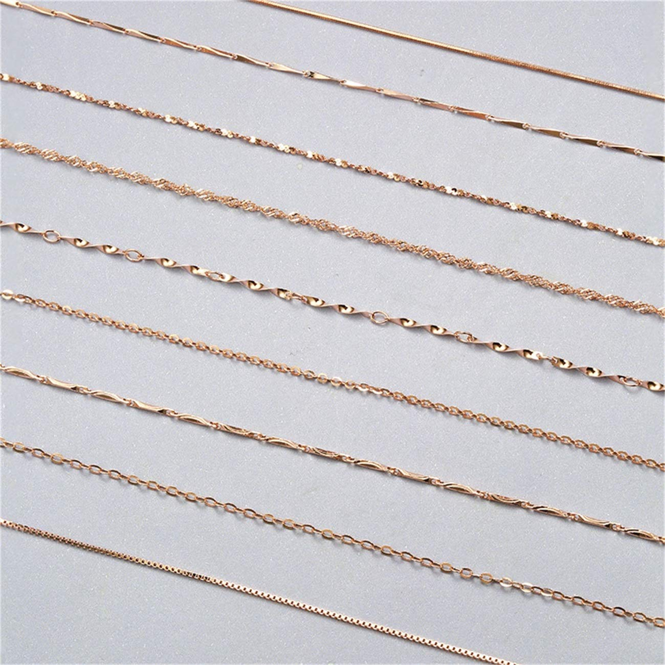 JOQSI 100/% 925 Sterling Silver Water-Wave Chain for Woman 40Cm//45Cm 0.7//0.8Mm Chain Necklace Gold//Rose Gold Color GSC2 Gold 5 40cm