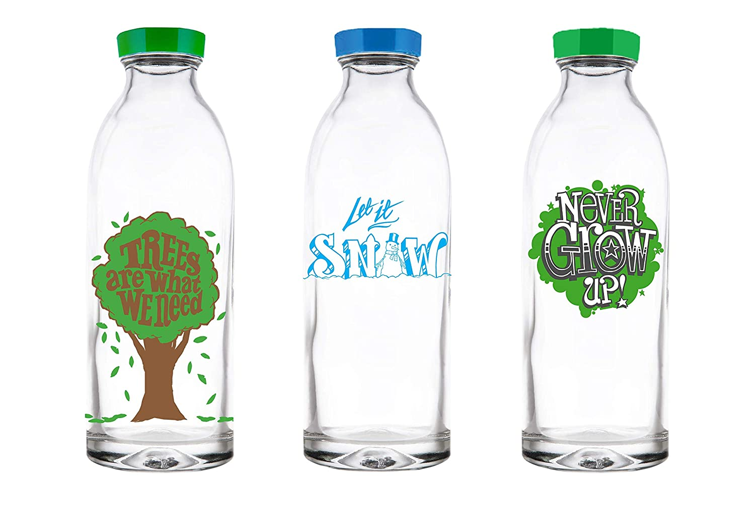 cf47a8b1c96 Amazon.com: Faucet Face Gift Pack - 3 Limited Edition Reusable Glass Water  Bottles, 14.4 Oz.: Kitchen & Dining