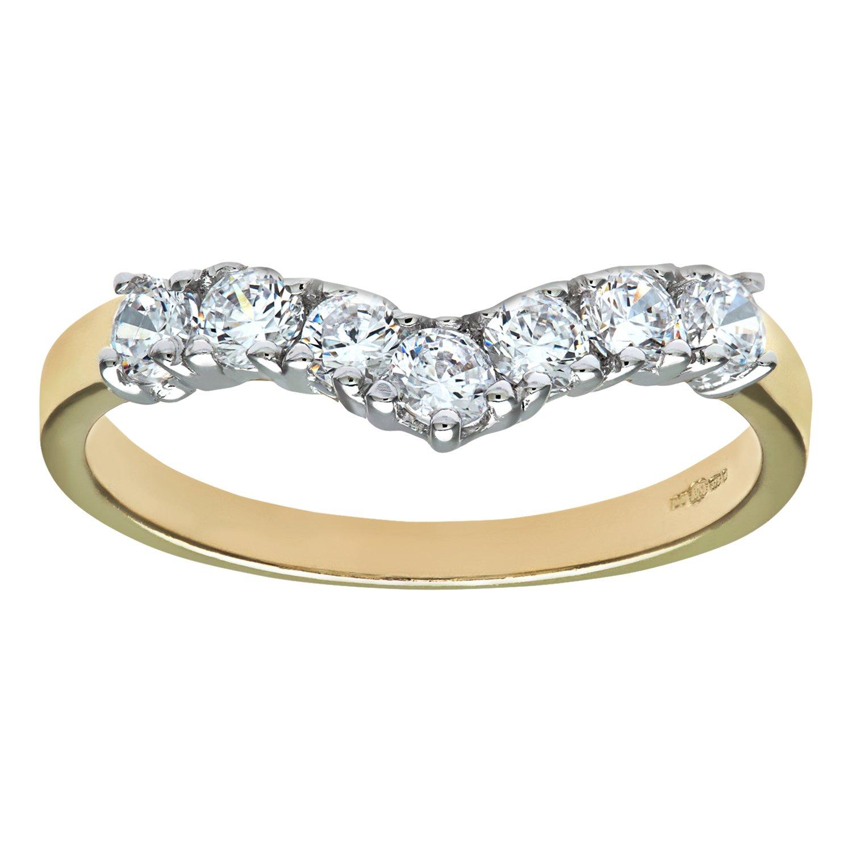 Citerna 9ct Yellow and White Gold Stone Set Wishbone Ring Amazonco