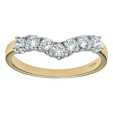 Citerna 9ct Yellow and White Gold Stone Set Wishbone Ring iSP6bHJ