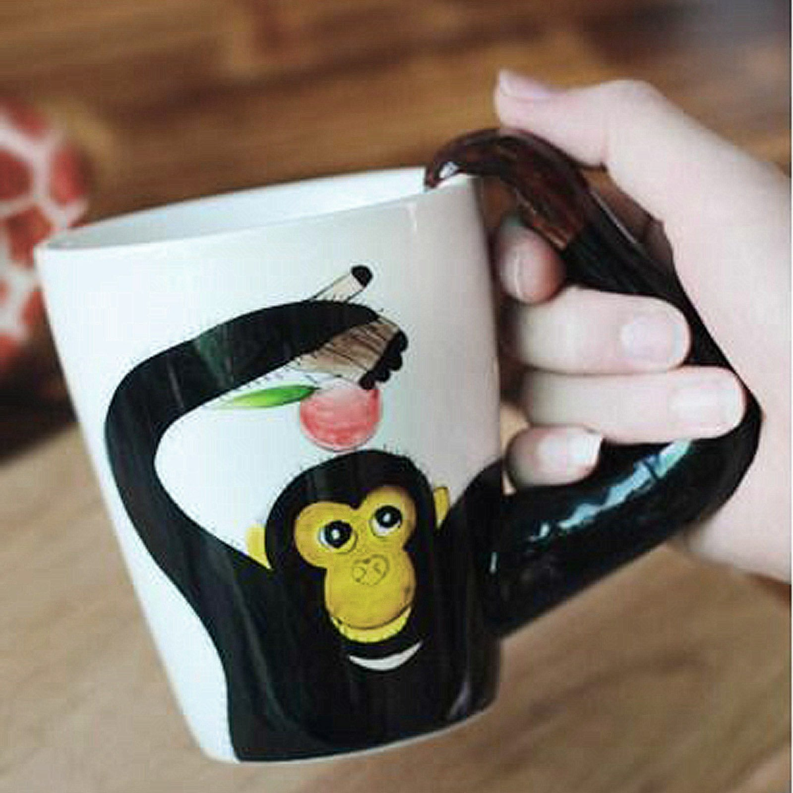 3D Coffee Mug Ceramics Cup With handle Painted Cat Animal (Monkey) by luckyse (Image #4)