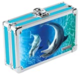 Vaultz VZ03786 Locking 3D Supply Box, Dolphin, 8.25 x 5.5 x 2.5 Inches, Blue and Teal