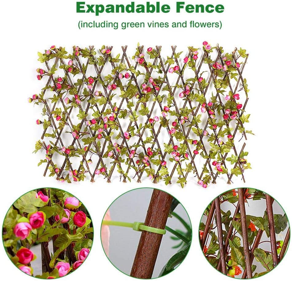 N/Z Expanding Trellis Fence with Artificial Flower Leaves Retractable Fence Artificial Garden Plant Fence Privacy Screen for Outdoor Indoor Use Garden Fence Backyard Home Decor