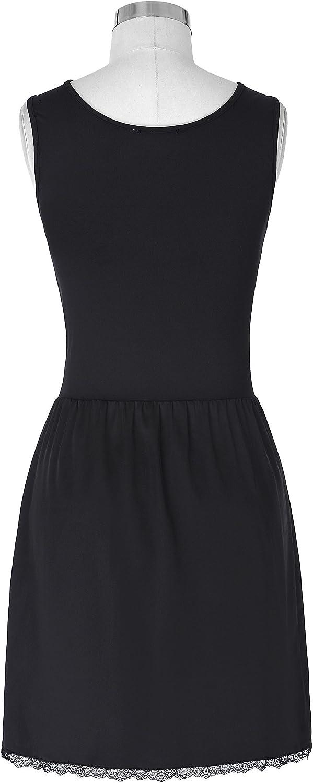 Kate Kasin Damen komfortabel /ärmellose Rundhalsausschnitt Vollschlupf Unterkleid einfarbig langes Kleid