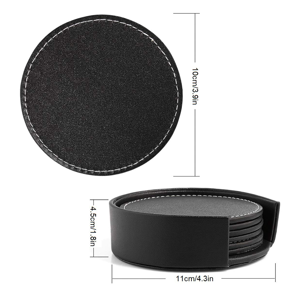 Marbe Granite Stone Tables Glass Wood KAMISAFE Drink Coasters Set of 6 with Holder Tabletop Protection for Any Table Type Soft PU Leather Coaster Fit Any Size of Drinking Glasses or Cup Mug KM round coaster
