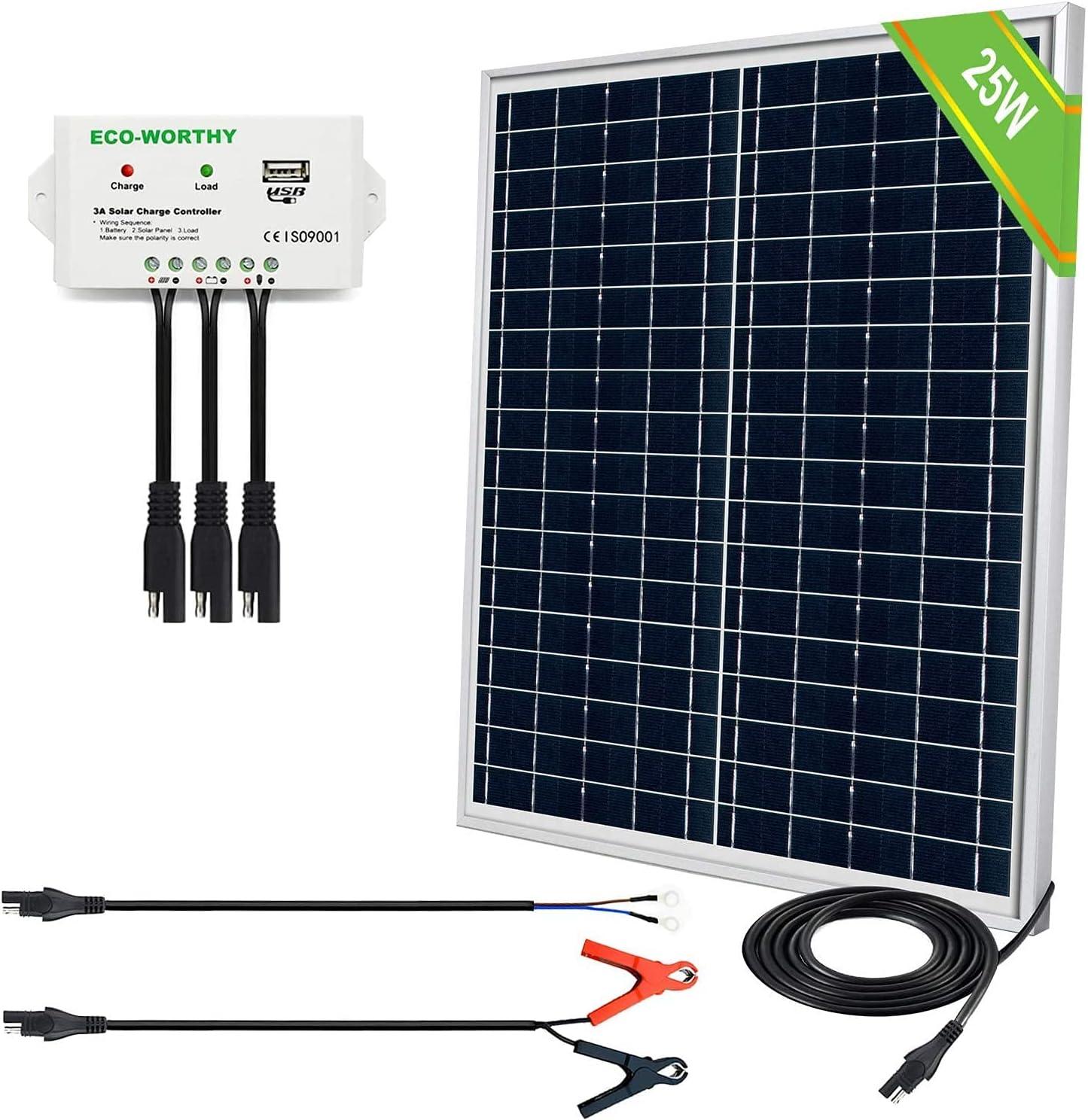 ECO-WORTHY 25 Watts 12V Off Grid Solar Panel SAE Connector Kit