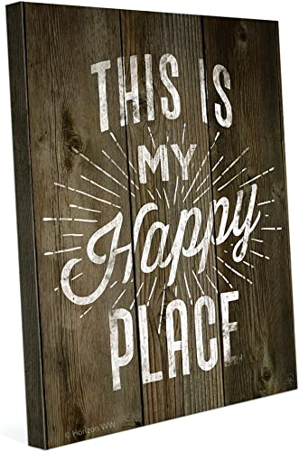 Wood Textured This is My Happy Place Canvas Art Print Wall D cor 24×30
