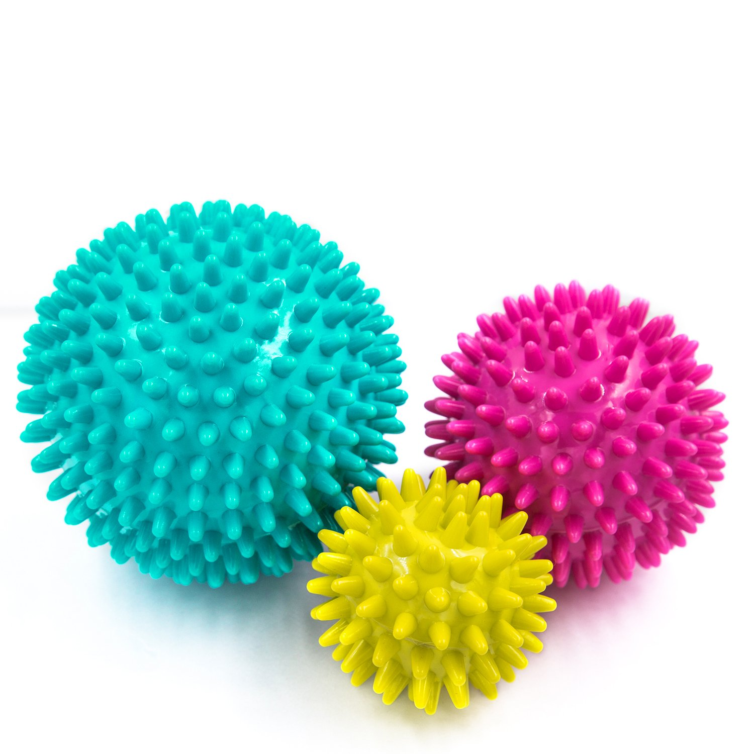3 Pack Spiky Massage Balls Set, Release Plantar Fasciitis Pain Relief, Foot/ Back/Neck/Hand Tissue Massage and Yoga Massager Tools, Improve Reflexology Myofascial Release, Physical Therapy Fascia