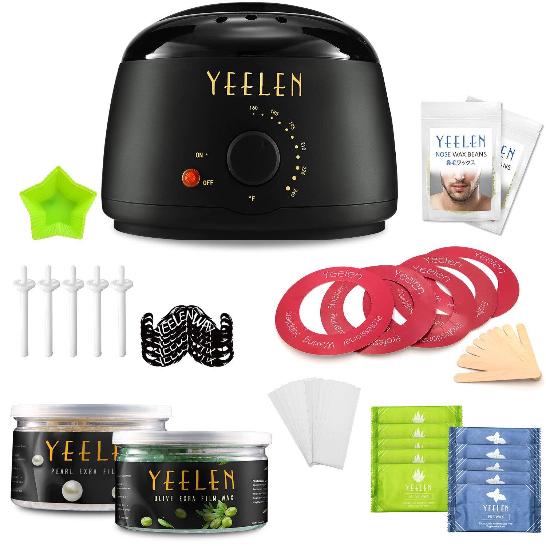 Yeelen Waxing Kit 400g Wax Beans + 100g Nose Wax Wax Warmer Hair Removal + 10 Wax Applicator Sticks