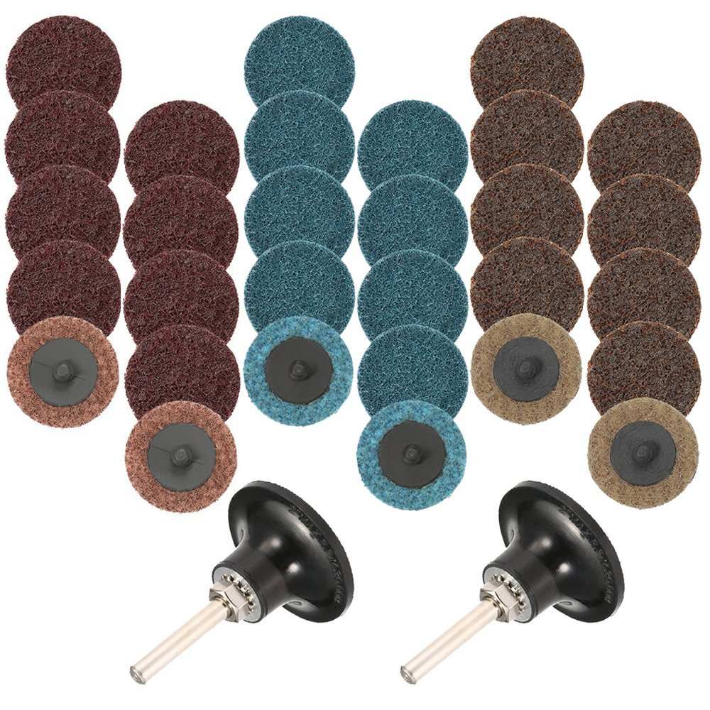 30 Pcs Sanding Discs Quick Change Discs Set, Fine/Medium/Coarse, 2 inch/50mm, with 2 pcs 1/4'' Pad Holder Shank, AFUNTA Surface Conditioning Discs for Surface Prep Strip Grind Polish Finish Burr Rust