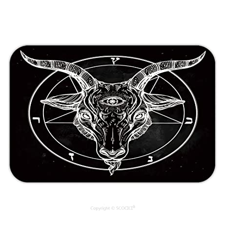 Flannel Microfiber Non Slip Rubber Backing Soft Absorbent Doormat Mat Rug  Carpet Pentagram With Demon