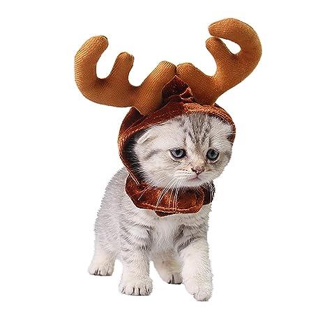 PEDOMUS Gato Disfraz Navidad Reno Sombrero Mascotas Navidad Disfraz para Gatos y Perros Pequeños (S