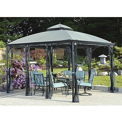 Sunjoy 110109126 Original Replacement Canopy for Somerset Gazebo (10X12 Ft) L-GZ212PCO-B Sold at BigLots, Dark Grey : Garden & Outdoor