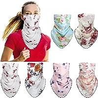 6 Pieces Women's Sun Protection Bandana Face Cover Silk Neck Scarf Lightweight Chiffon Neck Gaiter for Outdoors Sports…