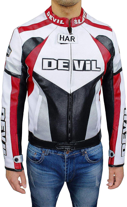 Devil Veste de Moto Homme Technique de Mans Veste Veste Faux Cuir