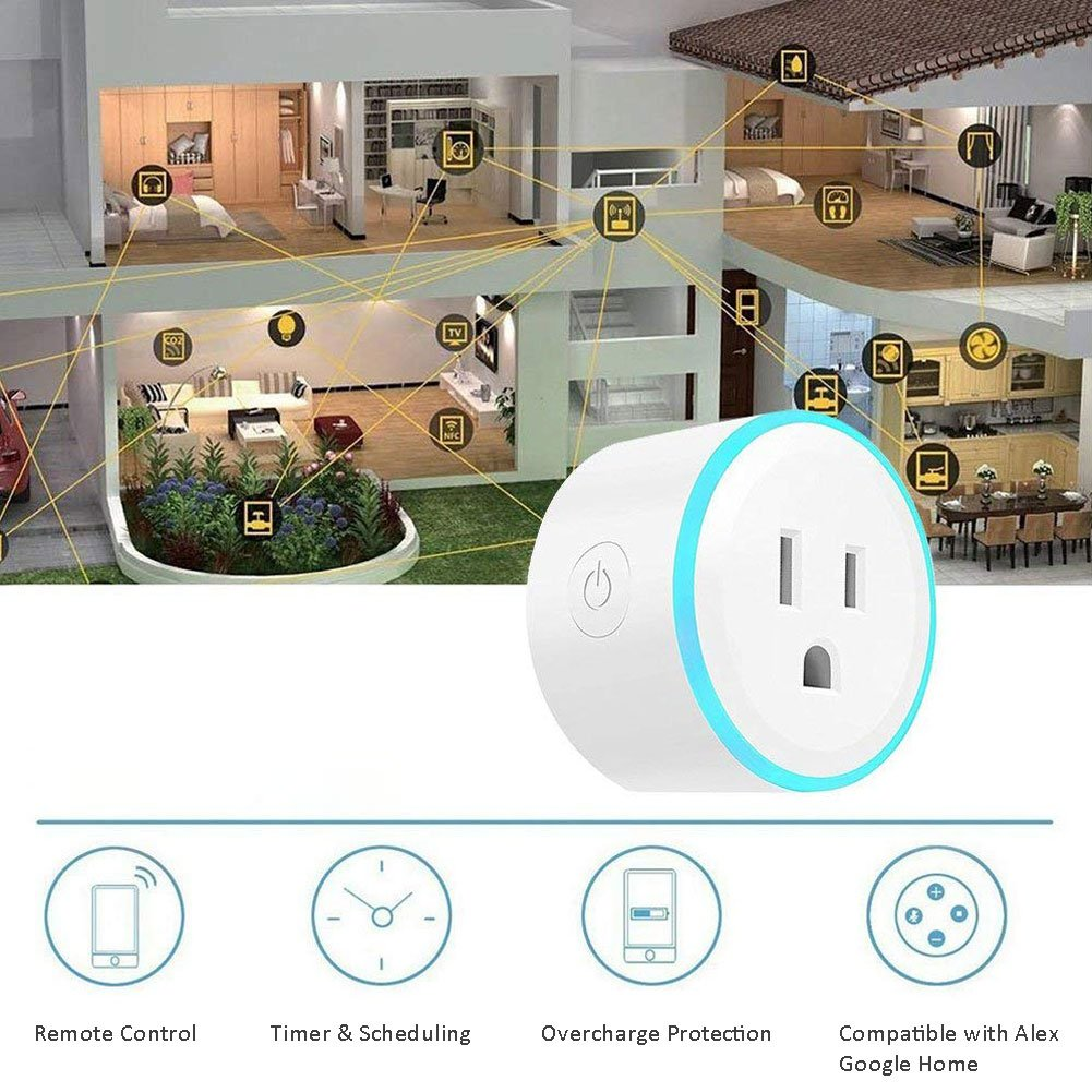 EEEKit 2-pack WiFi Smart Plug w LED Night Light, Newest Version Outlet Works with Amazon Alexa Echo Google Home App and Voice Control Anywhere Anytime, Wireless Remote Control via Smartphone