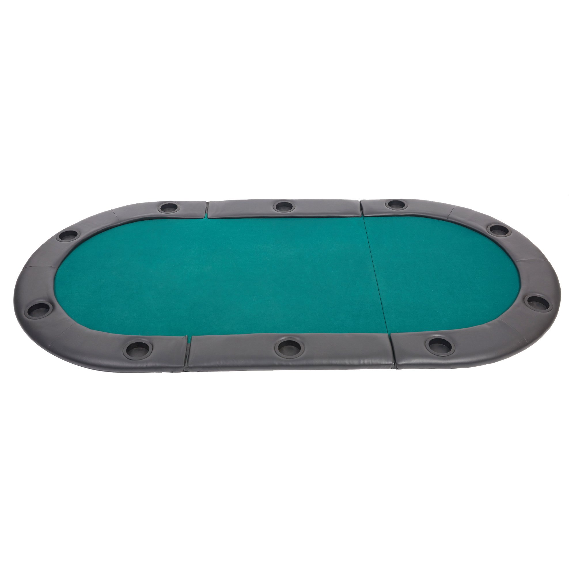 10 Player Poker Table Top 82'' Folding Poker Table Cover Mat 3 Fold Easy Storage with Soft Padded Rails Cup Holder for Guys Poker Night Family Christmas Halloween Party by LUCKYERMORE