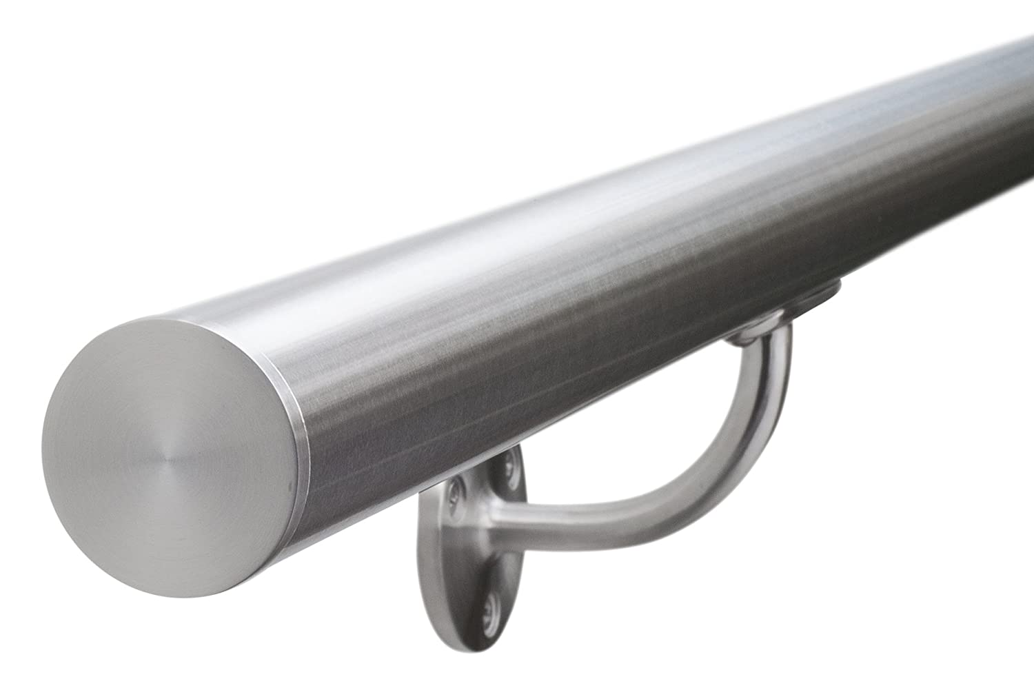 Satin-Polish Brushed Stainless Steel Stair Handrail - Pre-Assembled, Select Your Length - with Classic Flat End Caps Seagull Balustrades