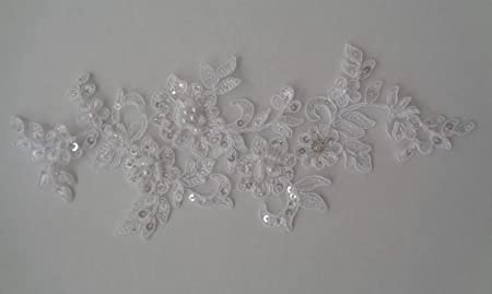 BRIDAL LACE WHITE BEADED SEQUINS EMBROIDERED MOTIF LACE APPLIQUE 1 PIECE