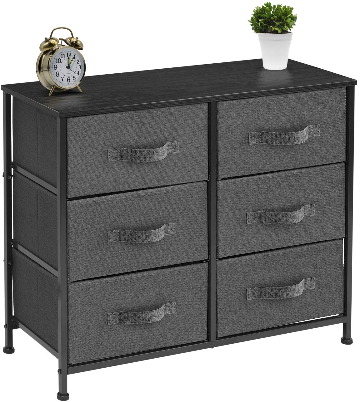 Hallway Beige Furniture Storage Tower Unit for Bedroom Closet Easy Pull Fabric Bins Wood Top Office Organization Steel Frame Sorbus Dresser with 6 Drawers
