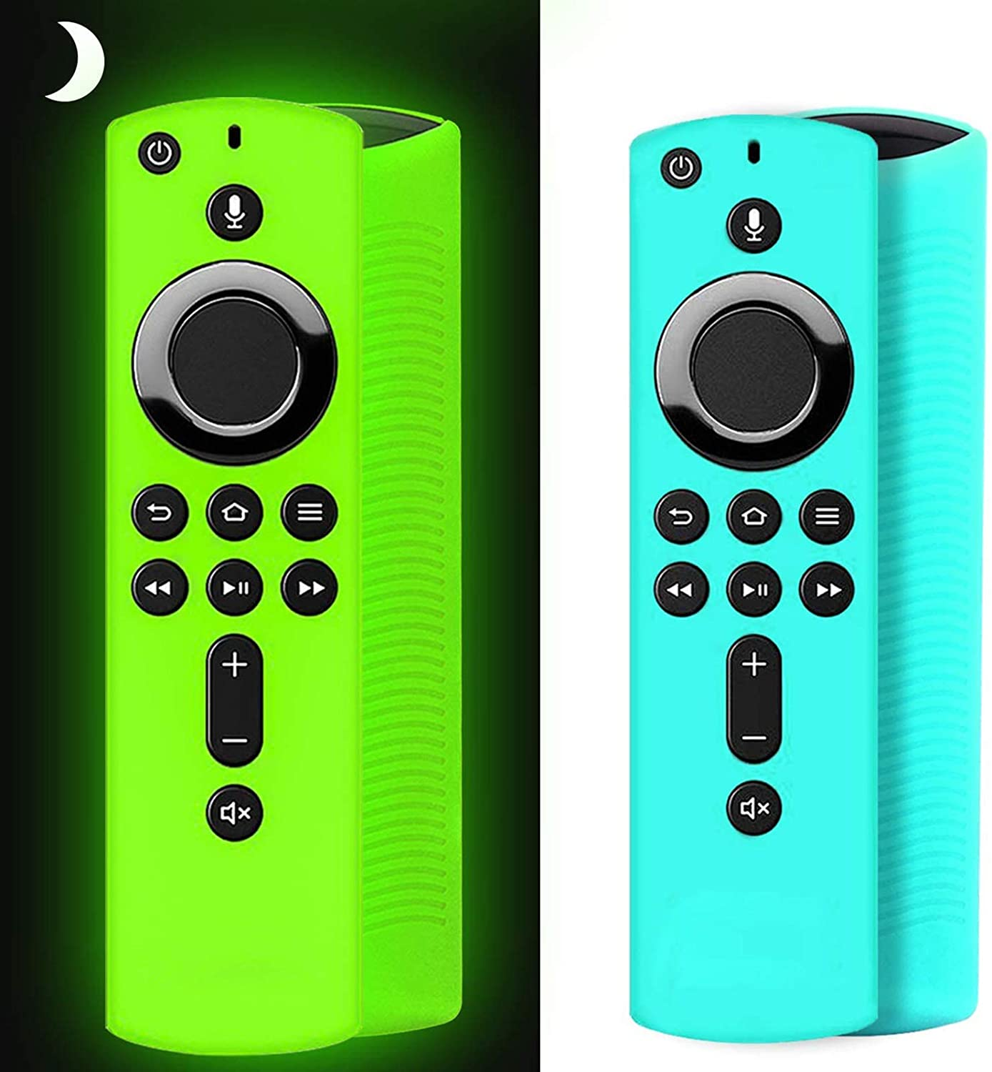[2 Pack ] Firestick Remote Cover Case, Silicone Fire Remote Cover Case Compatible with 4K Firestv Stick, Firetv Remote Cover Case, Shockproof Firetv Remote Cover (Green Glow& Sky Blue Not Glow): Home Audio & Theater