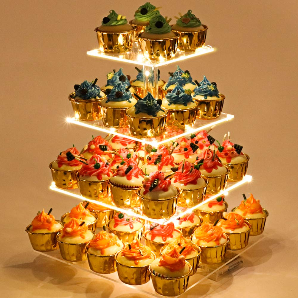 Cupcake Stand - Premium Cupcake Holder - Acrylic Cupcake Tower Display - Cady Bar Party Décor - 4 Tier Acrylic Display for Pastry + LED Light String - Ideal for Weddings, Birthday Parties & Events