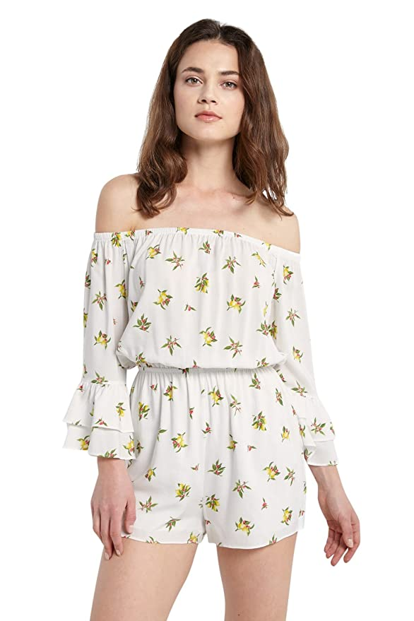 ebc4c7314cc7 Amazon.com  Poshsquare Women s Off The Shoulder Ruffle 3 4 Sleeves Lemon  Floral Printed One Piece Romper  Clothing