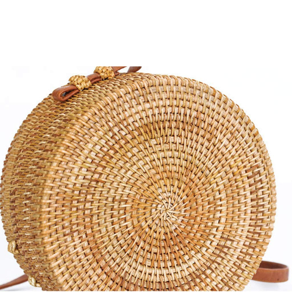 Women's Bag, Rattan Bag - Mesh - Open Beach Bag - Round Crossbody Bag - Lined - Vintage Floral Bag by BHM (Image #7)