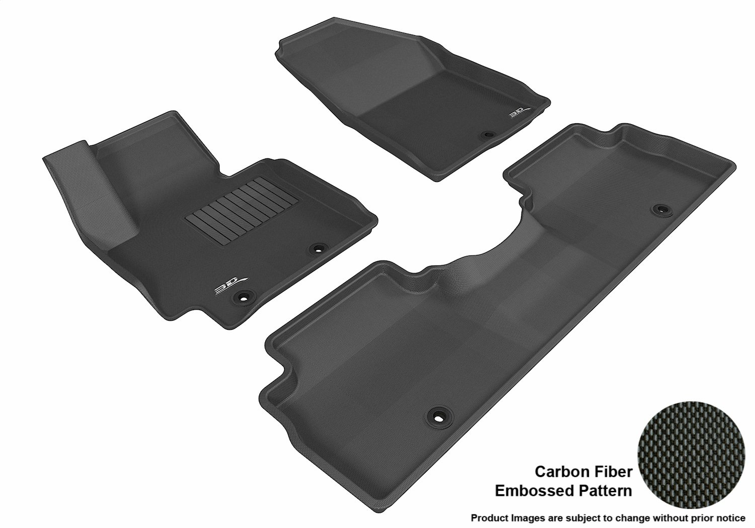 3D MAXpider Complete Set Custom Fit All-Weather Floor Mat for Select Kia Soul Models - Kagu Rubber (Black)