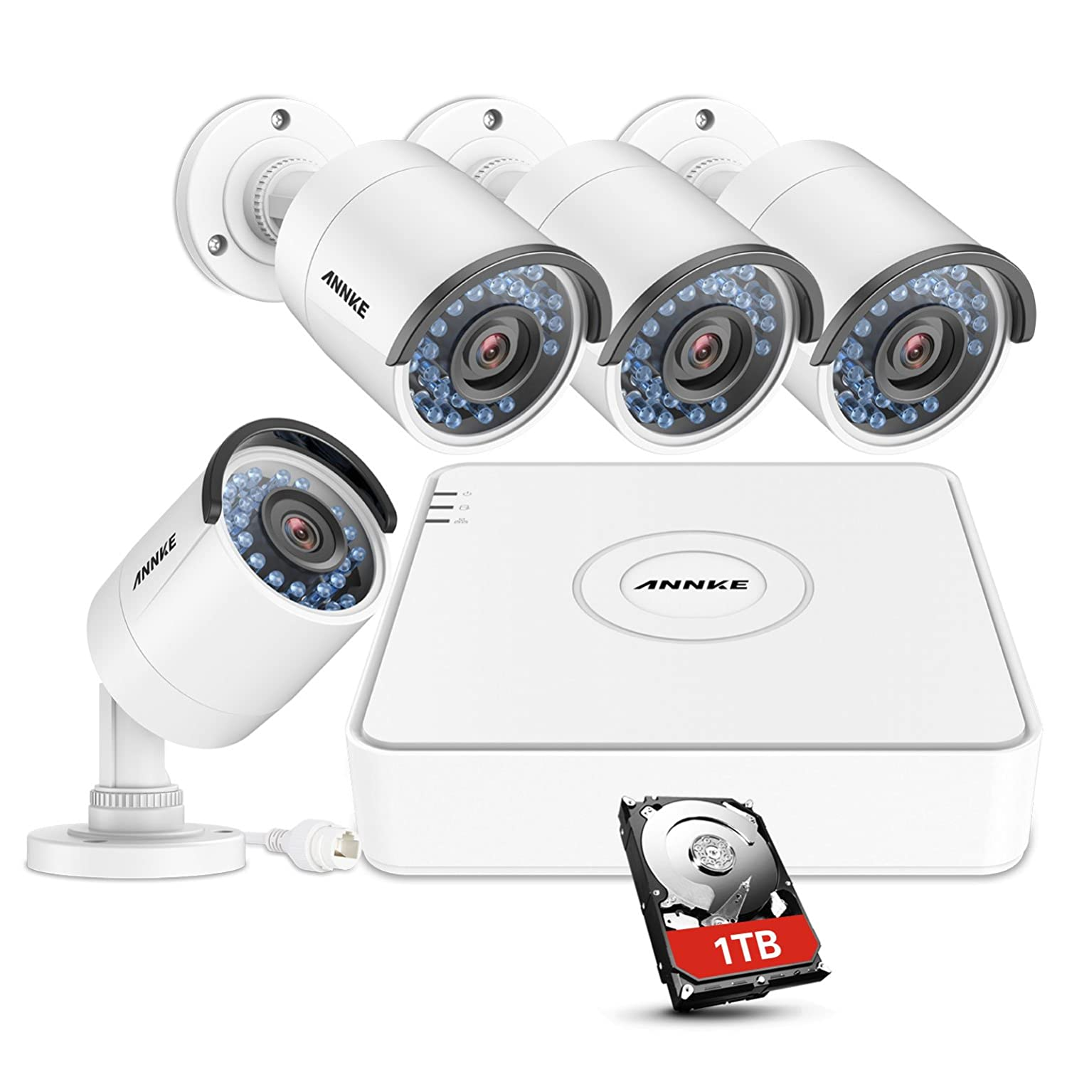 ANNKE 1080P POE NVR Security Camera System with 1TB Hard Drive and (4)  1 3MP 960P Outdoor IP Cameras, IP67 Weatherproof, 100ft Night Vision,  Customize