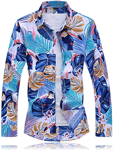 ZODOF Camisa Hombre Manga Larga Estampada Flores/Ancla/Regular Camisas Vestir Fiesta Slim Fit Cuello Mao, Moda Flor Impresión Blusa Camisas Manga Larga Tops: Amazon.es: Ropa y accesorios