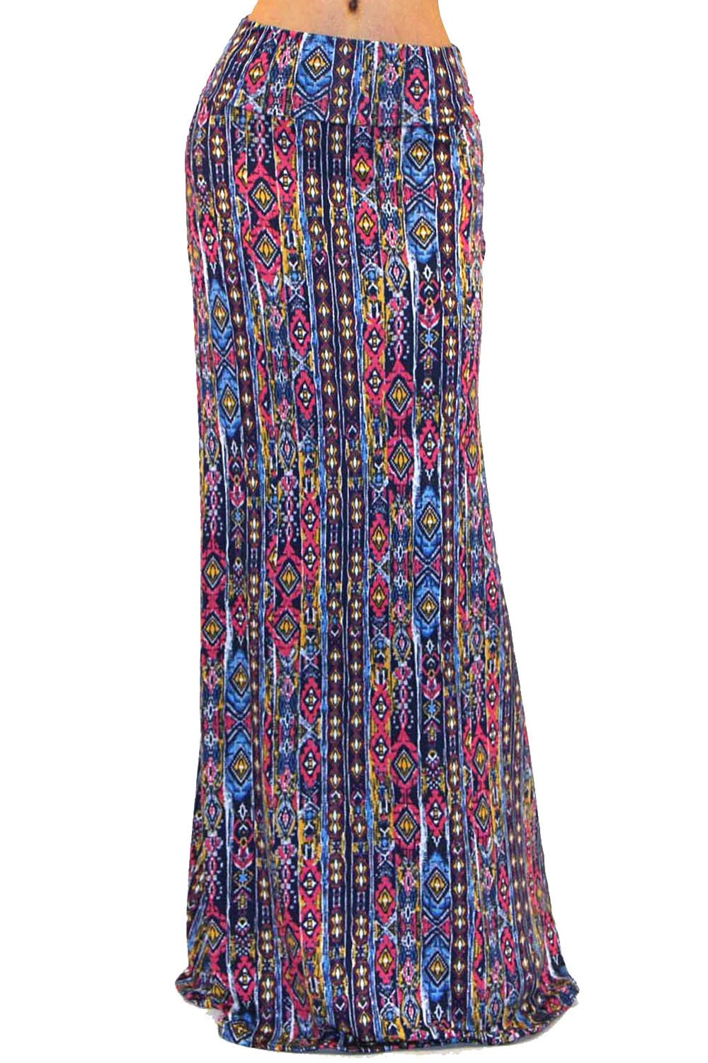 Vivicastle Women's Colorful Printed Fold Over Waist Long Maxi Skirt (Small, D44, Multi)