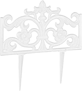 Relaxdays Flower Bed Fence, Cast Iron, Single Panel, Spikes, Modular, Decorative Lawn Edging, Nostalgic, H x W x D: 37 x 36 x 2 cm, White