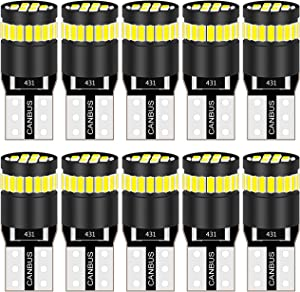 KATUR 194 LED Light Bulb 6000K White Super Bright 168 2825 W5W T10 Wedge 24-SMD 3014 Chipsets LED Replacement Bulbs CANBUS Error Free for Car Dome Map Door Courtesy License Plate Lights (10pcs,White)