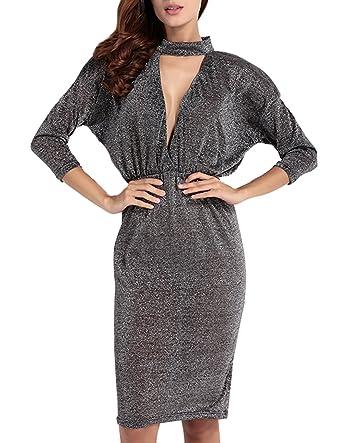 ffc26ae220 Richlulu Womens Plunge V Neck Wrap Tight Waist Mini Cocktail Dress ...