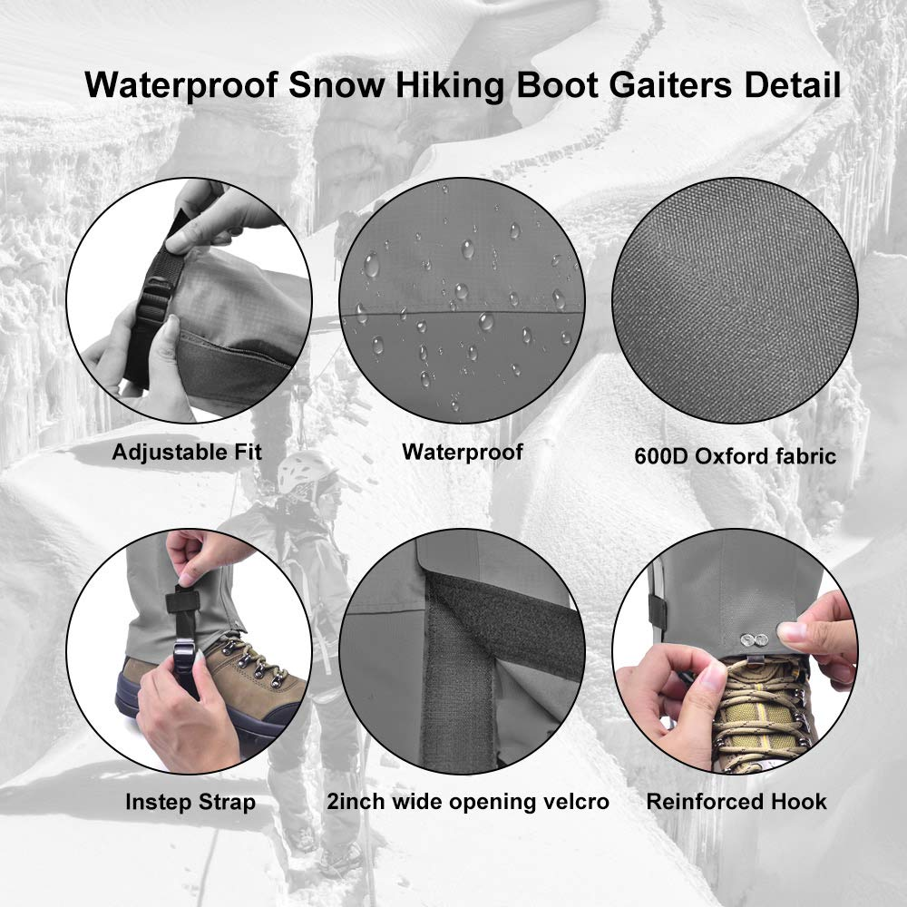 Leanking Leg Gaiters, Waterproof Snow Boot Gaiters 600D Anti-Tear Oxford Fabric Outdoor Waterproof Snow Leg Gaiters for Outdoor Hiking Walking Hunting Climbing Mountain (Gray, S) by Leanking (Image #6)