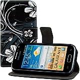 kwmobile Wallet Case Kunstlederhülle für Samsung Galaxy Ace 2 - Cover Flip Tasche in Blumen Swirl Design mit Kartenfach und Ständerfunktion in Weiß Schwarz