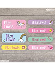 46 Unicorn Iron on and stick on name labels for children - A range of designs to choose from - Perfect for labelling uniforms, tupperware, shoes, stationery etc. ready for school (Unicorn)