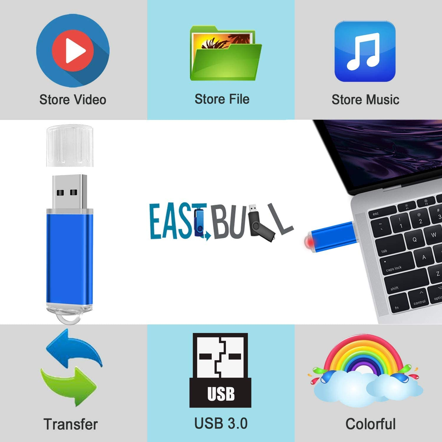 4GB USB Flash Drives 10 Pack EASTBULL USB 2.0 Thumb Drives Memory Sticks USB Sticks with 10 Lanyards for Storage Multicolors-10PCS