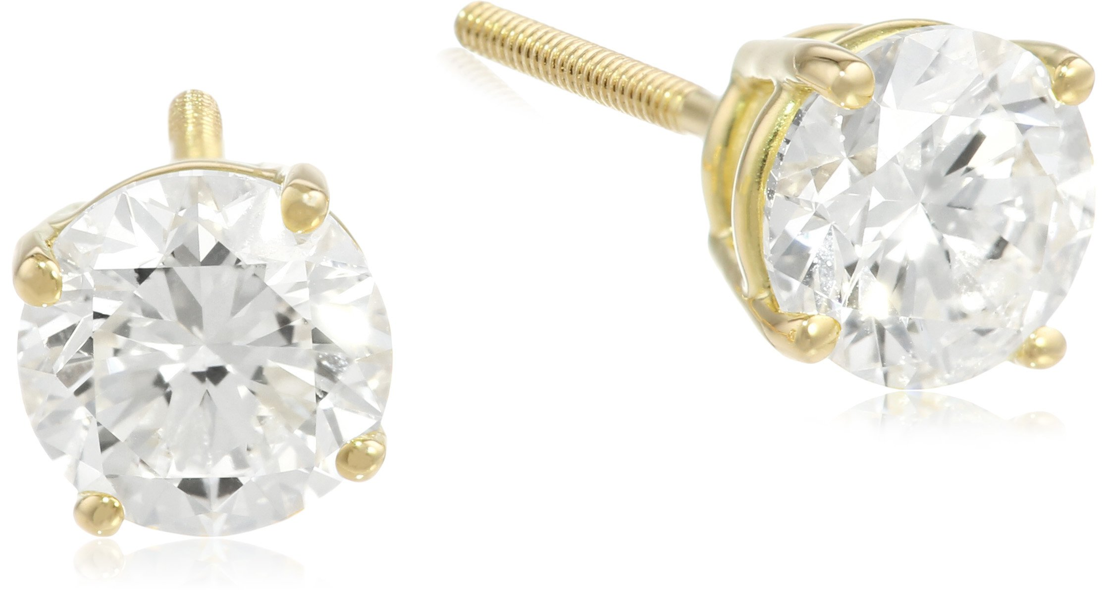 IGI Certified 18k Yellow Gold, Round-Cut, Diamond 4-Prong Studs (2 cttw, H-I Color, SI1-SI2 Clarity) by Amazon Collection