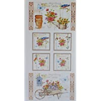 """Adalees Garden Panel 24"""" x 44"""" by Red Rooster Floral Cotton Fabric"""
