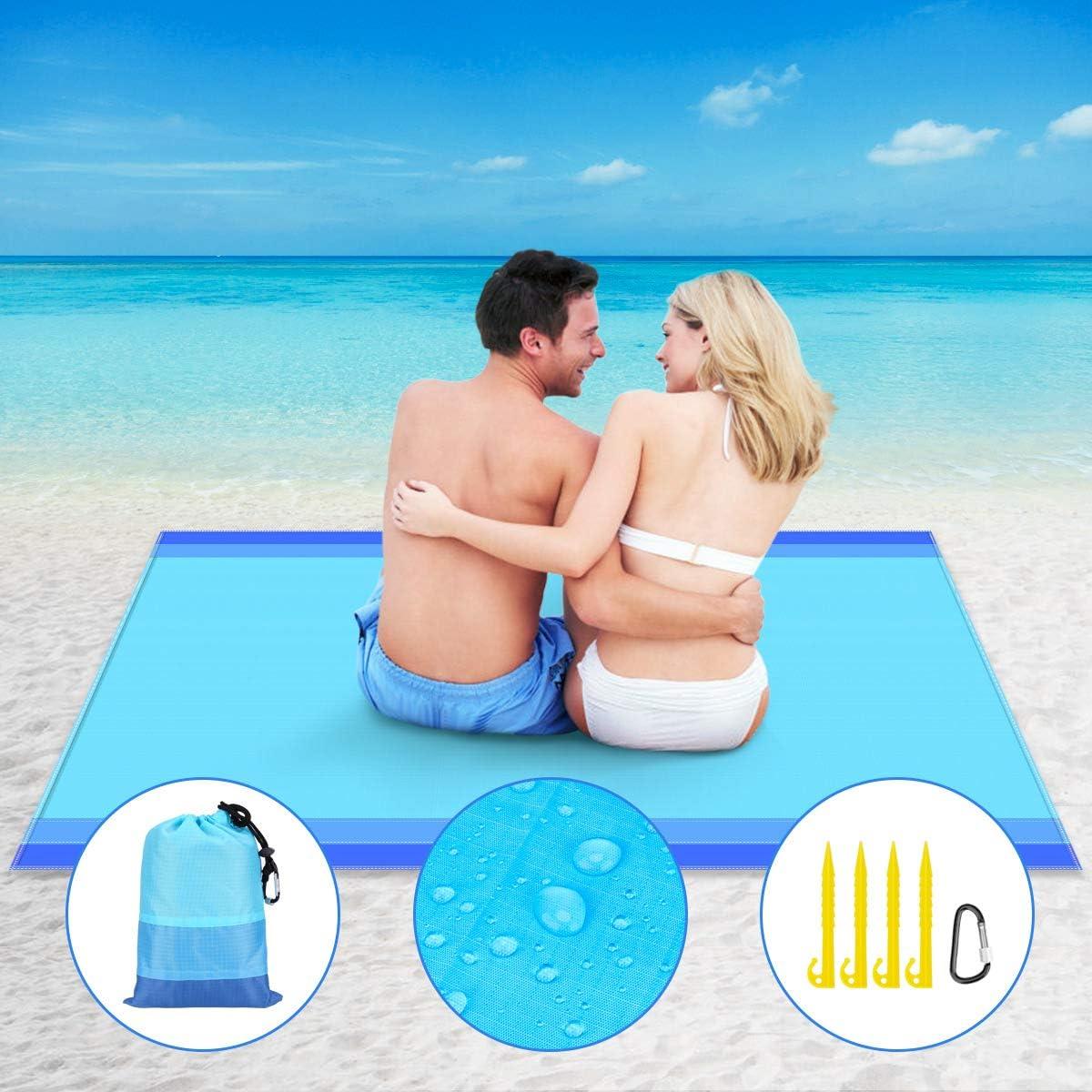 Strandmatte-Blau Ashine Stranddecke Picknickdecke wasserdicht 210 x 200 cm,sandfreie Campingdecke,mit Tasche und 4 Kunststoffpf/ähle,Camping,Picknick