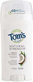 product image for Tom's of Maine Natural Strength Deodorant, for Women, Natural Deodorant, Fresh Coconut, 2.1 oz, 1Count