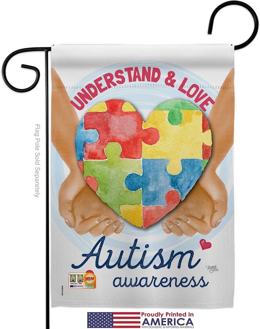 Awareness Understand Autism Garden Flag Support Inspirational Survivor Ribbon Prevention Cancer Breast Blm Small Decorative Gift Yard House Banner Made In Usa 13 X 18 5 Garden Outdoor