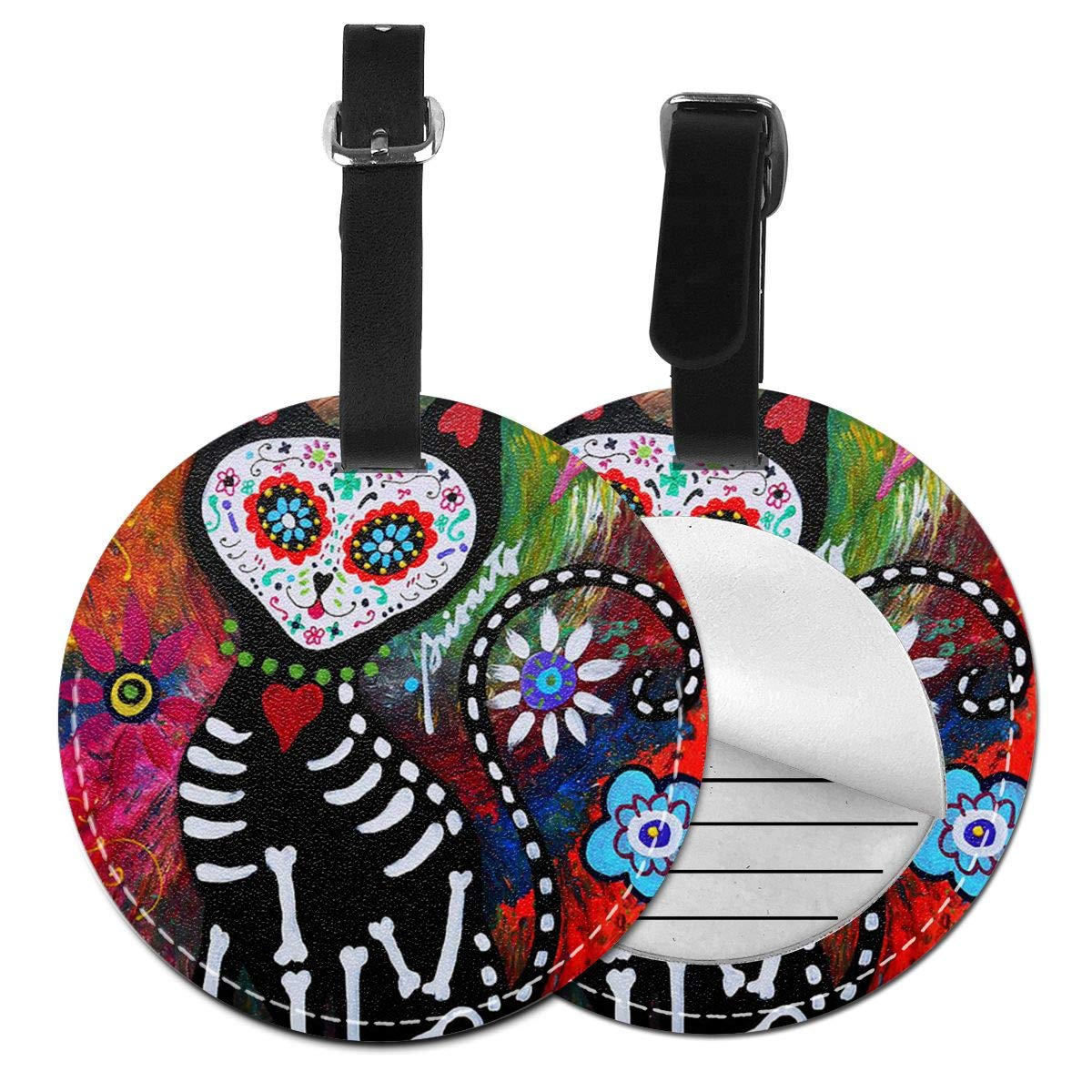 Free-2 Chihuahua Day of The Dead CAT Luggage Tag 3D Print Leather Travel Bag ID Card