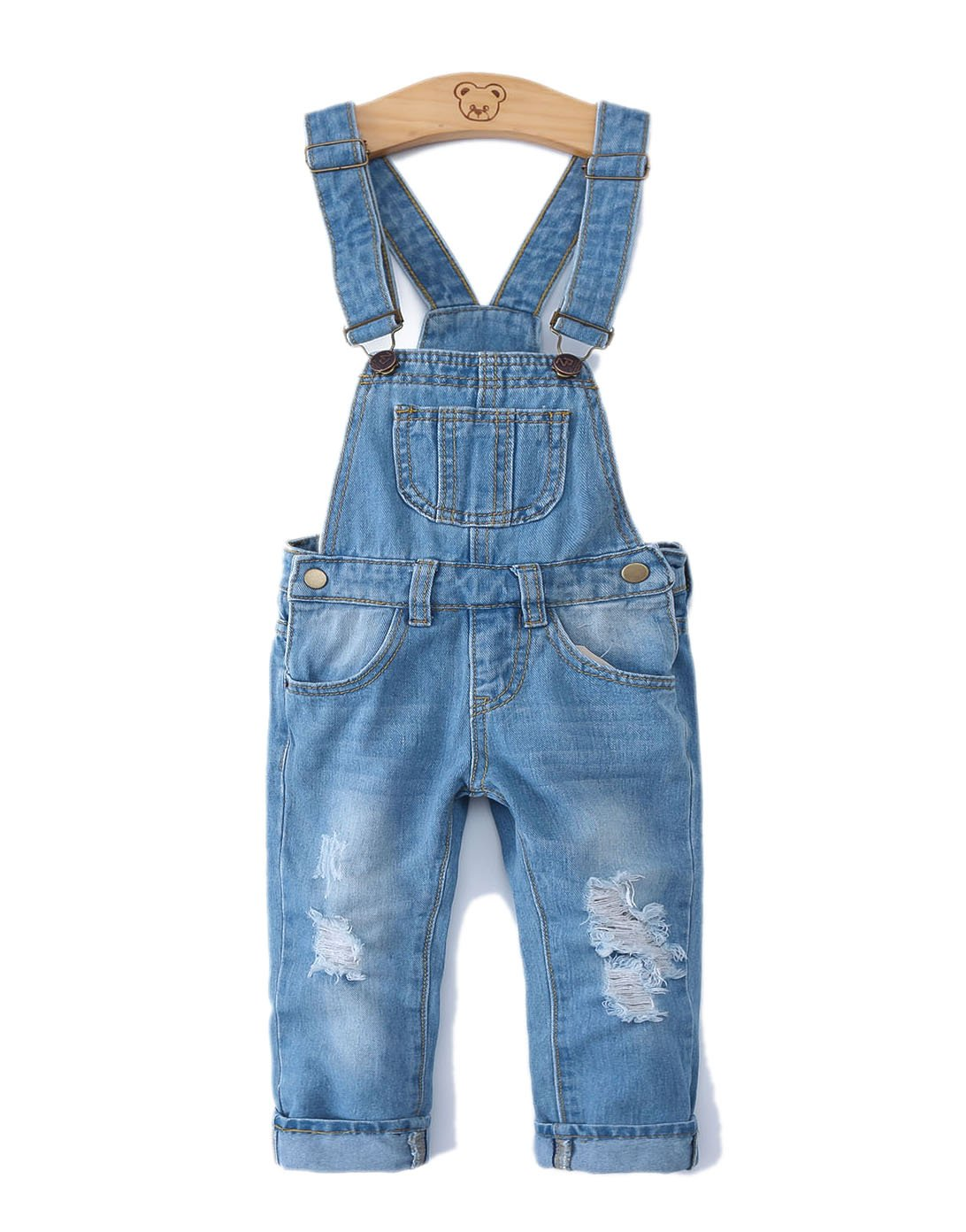 Girls Ripped Holes Stretchy Big Bibs Soft Jeans Overalls,Blue,3T by Kidscool